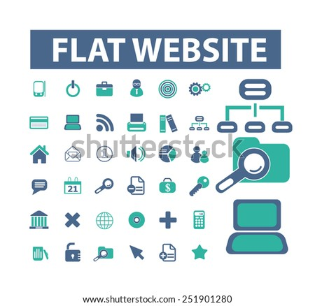 website, internet, office, corporate flat isolated icons, signs, illustrations vector set on background - stock vector