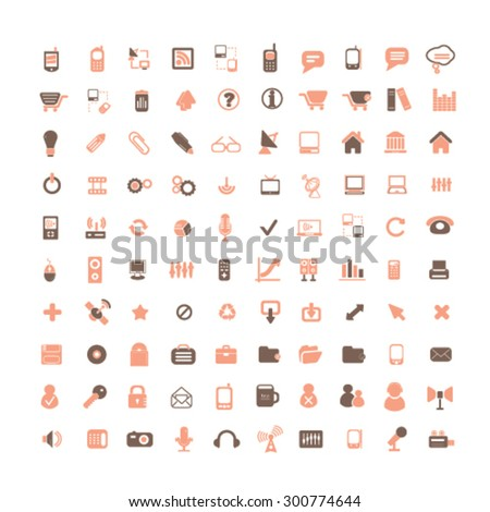 website isolated flat icons, signs, illustrations set, vector for web, application