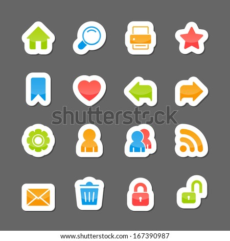 Website layout interface elements, home search print like on cartoon stickers isolated vector illustration