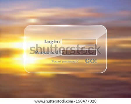 Website login glass form vector template on subset background. You can easily change background on yours. - stock vector