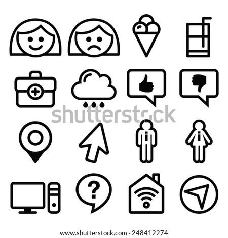 Website menu line, stroke icons set - user, computer, app  - stock vector