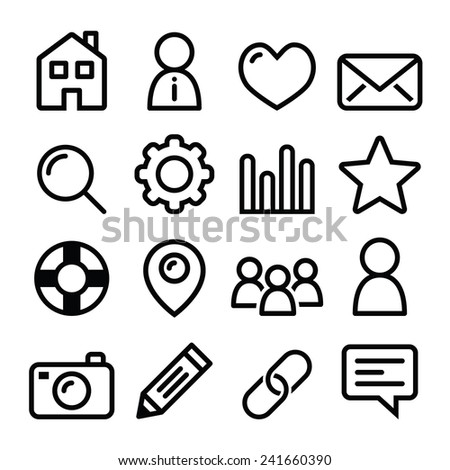 Website menu navigation line icons - home, search, email, gallery, blog - stock vector