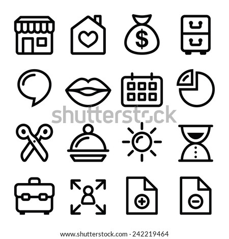 Website menu navigation line icons - online shop, web page - stock vector