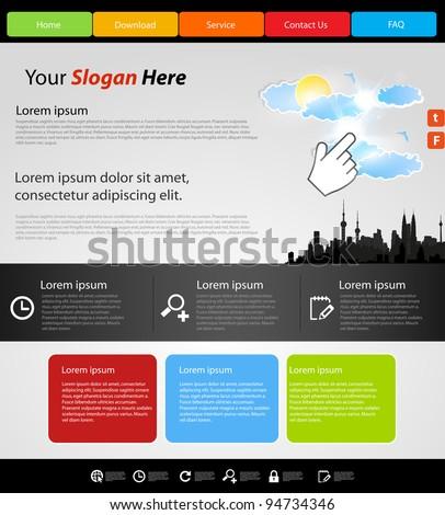 Website modern template, city design - stock vector