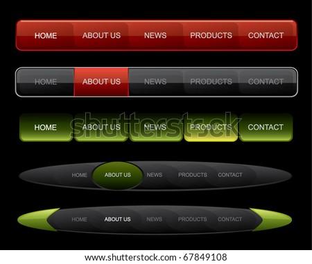 Website navigation on dark website - stock vector