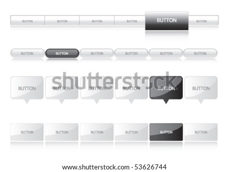Website Navigation Templates - black and silver - stock vector