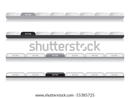 Website Navigation Templates - silver and black - stock vector