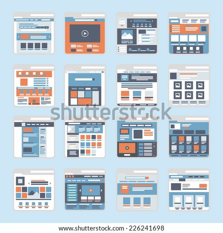 Website online shopping interface windows vector. Flat style modern elements web site click banner icon ui ux elements. - stock vector