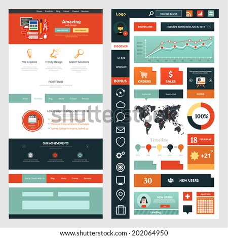 Website page template. Web design. Set of web page with icons for different websites in flat style - stock vector