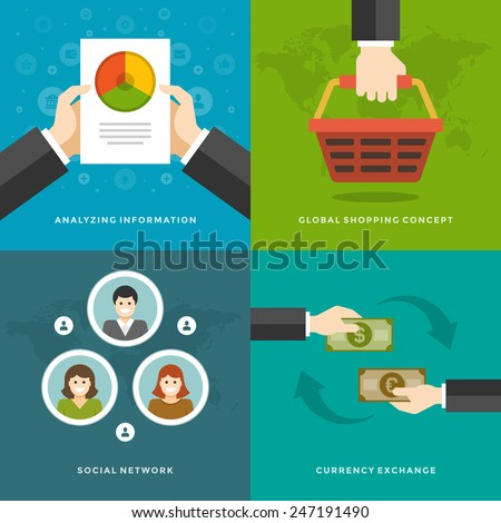 Website Promotion Banners Templates and Flat Icons Design. Analyzing information, Global Shopping, Social network, Currency exchange. Vector Illustrations set.  - stock vector