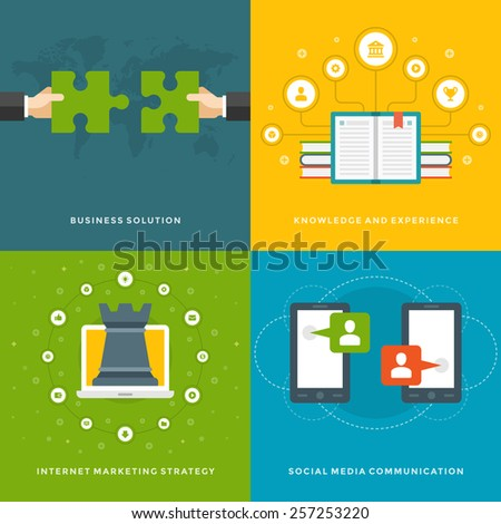 Website Promotion Banners Templates and Flat Icons Design. Business solution, Knowledge experience, Marketing strategy, Social media communication. Vector Illustrations set.  - stock vector