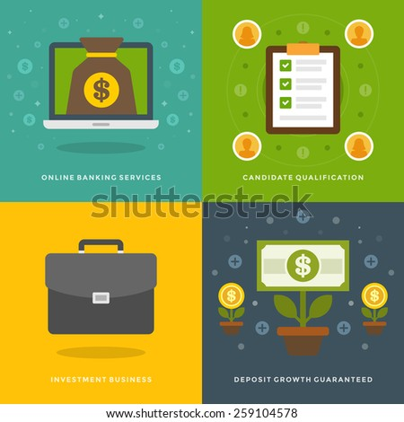 Website Promotion Banners Templates and Flat Icons Design. On-line banking services, Candidate qualification, Business, Deposit Growth. Vector Illustrations set.  - stock vector
