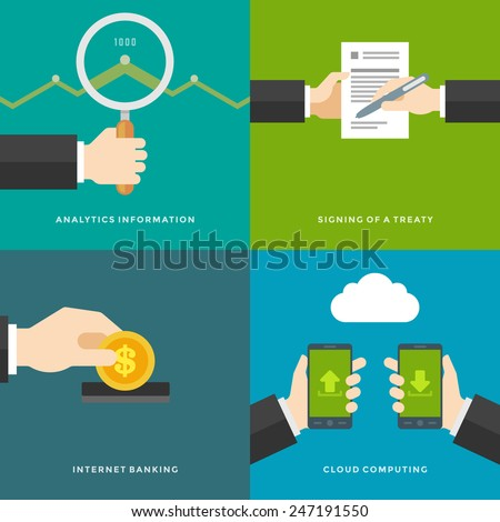 Website Promotion Banners Templates and Flat Icons Design. Signing of a treaty, Analytics information, Internet Banking, Cloud computing. Vector Illustrations set.  - stock vector