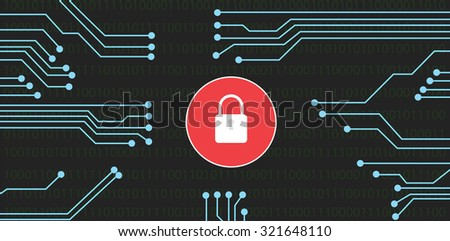 website security with lock flat vector design - stock vector