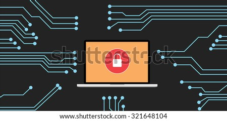 website security with notebook - stock vector