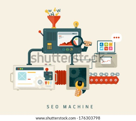Website SEO machine, process of optimization. Flat style design - stock vector