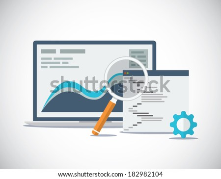 Website SEO (search engine optimization) analysis and process flat vector concept - stock vector