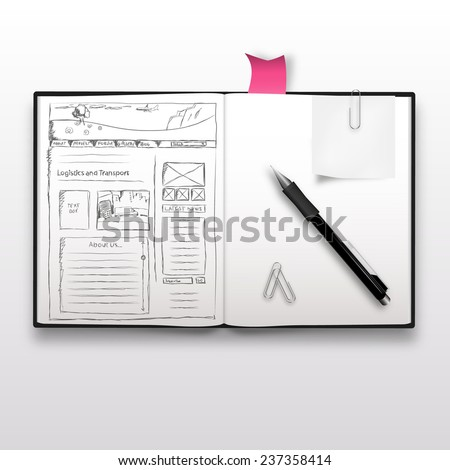 Website sketch on notebook, realistic illustration. - stock vector