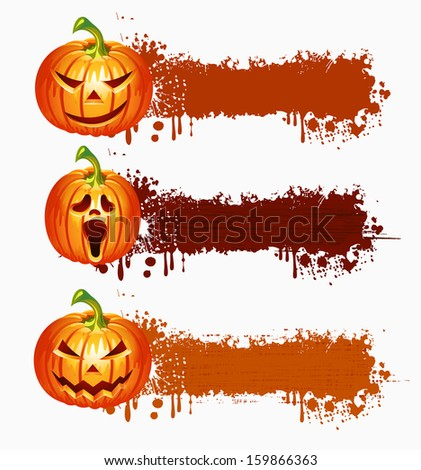 Website spooky banner set with Halloween pumpkin