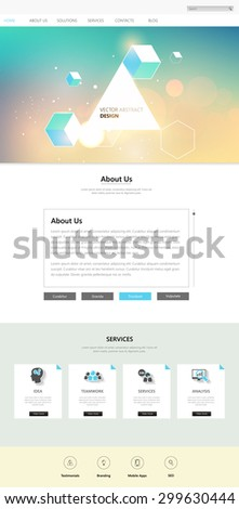 Website Template and abstract bokeh header design, One page style. Vector