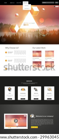 Website Template and abstract header design, One page style. Vector - stock vector