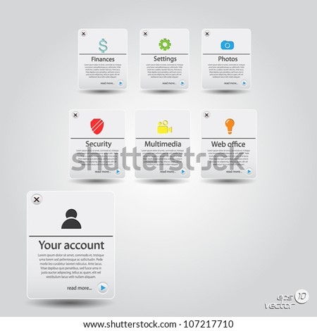Website template.Buttons set with icons. Vector - stock vector