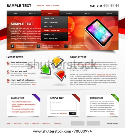 Website Template 4. Color variant 2 - stock vector