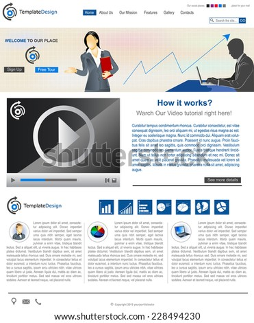 Website template design along with icons and images. Business - stock vector