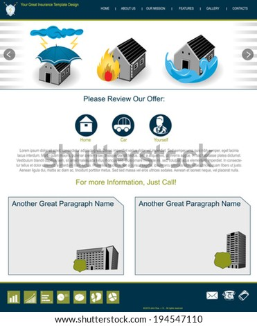 Website template design along with icons and images. Insurance related. - stock vector