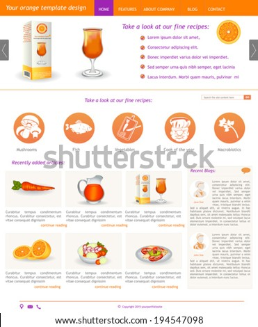 Website template design along with icons and images. Orange.  - stock vector