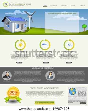 Website template design along with icons and images. Renewable energy