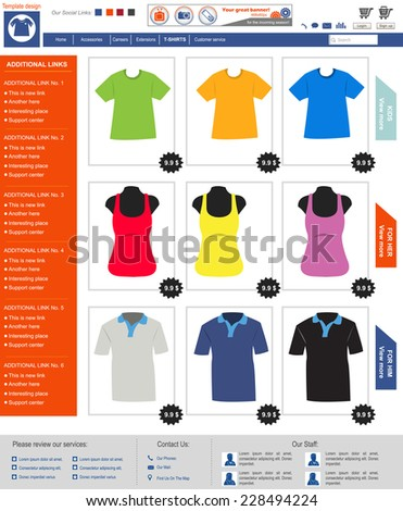 Website template design along with icons and images. T shirt online shop. - stock vector