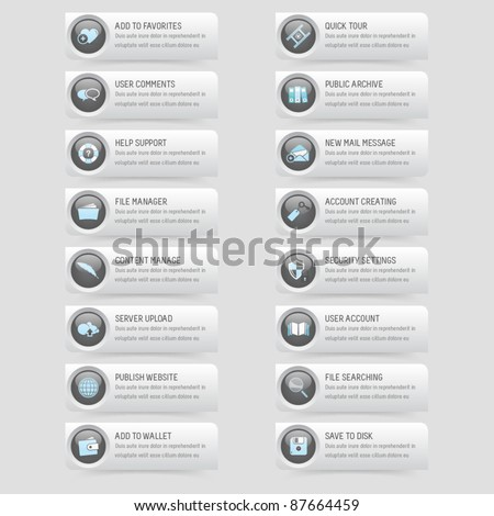 Website template design elements: Buttons set with icons - stock vector