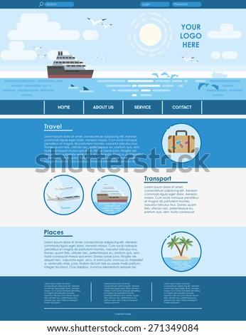 Website template design for travel agency. Vector flat illustration in blue color. EPS 10 - stock vector