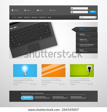 Website Template Design for Your Business. Eps 10 VEctor Illustration