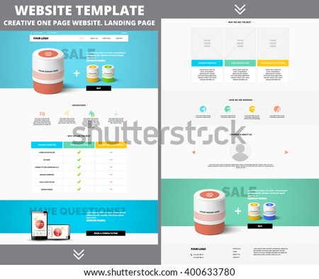 Website template design for your business in blue and green colors. Modern flat website template design. Clean one page website template EPS 10 - stock vector