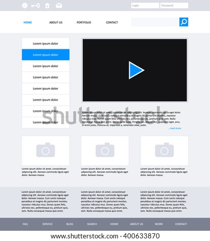 Website template design for your business  in grey colors. Modern flat website template design. EPS 10 - stock vector