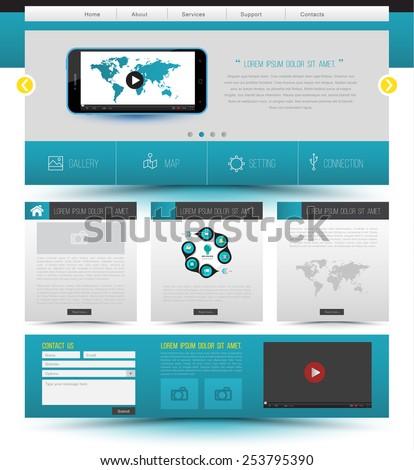 Website template design. Smartphone concept technology. Vector illustration. - stock vector
