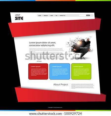 Website template, easy editable - stock vector