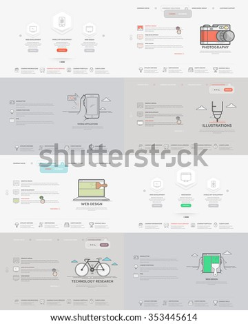 Website template elements collection: Set of four  templates for personal or company business portfolio with concept icons.  - stock vector