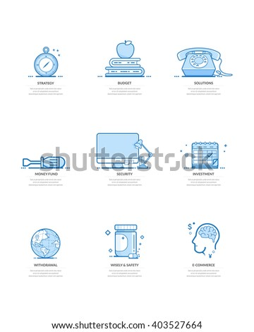 Website template elements: Concept icons for personal or company portfolio - stock vector
