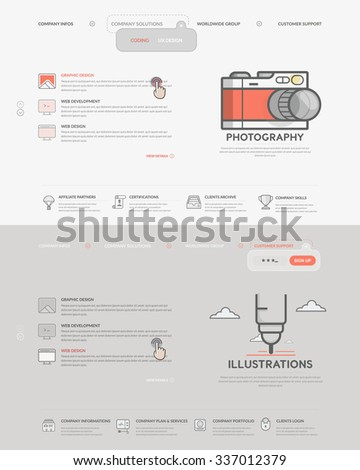 Website template elements set two homepage stock vector 337012379 website template elements set of two homepage templates for personal or company business portfolio with maxwellsz
