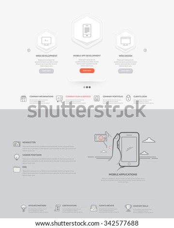 Website template elements:  Set of two templates for personal or company business portfolio with concept icons.  - stock vector