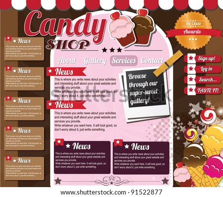 Website template elements, vintage style, candy shop - stock vector