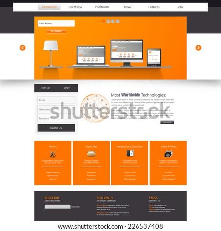 Website Template. Eps 10 Vector illustration, Orange Color - stock vector