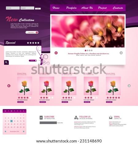 website template for flower shop and web shop eps10 vector illustration - stock vector