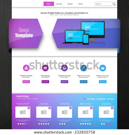 Website template for your business, eps 10 vector illustration, - stock vector