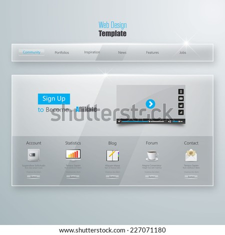 Website Template, Glass Transparent Minimalistic design with icons and buttons