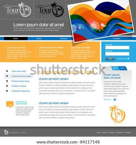 Website Template 960 Grid. Tour company - stock vector