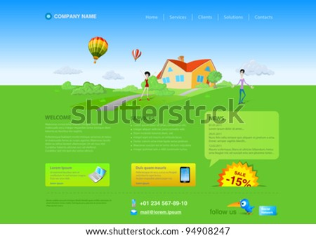 Website template: Healthlife, Countryside, Realty etc. Resizeble Web design - can be adopted for any monitor resolution. - stock vector